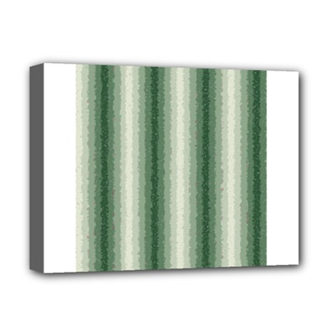 Dark Green Curly Stripes Deluxe Canvas 16  X 12  (framed)  by BestCustomGiftsForYou