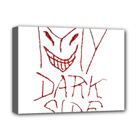 My Dark Side Typographic Design Deluxe Canvas 16  X 12  (framed)  by dflcprints
