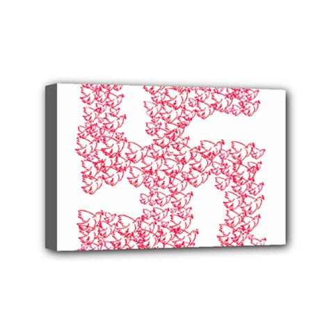 Swastika With Birds Of Peace Symbol Mini Canvas 6  x 4  (Framed) by dflcprints