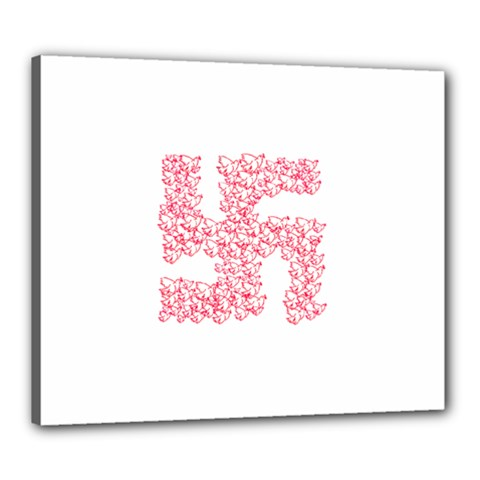 Swastika With Birds Of Peace Symbol Canvas 24  X 20  (framed) by dflcprints