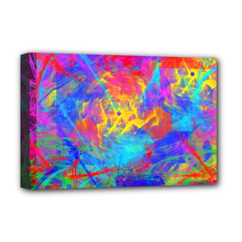 Colour Chaos  Deluxe Canvas 18  X 12  (framed) by icarusismartdesigns
