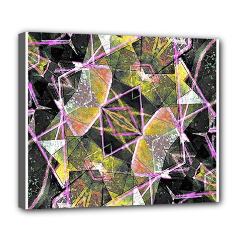 Geometric Grunge Pattern Print Deluxe Canvas 24  X 20  (framed) by dflcprints