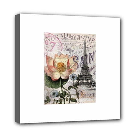 Vintage Paris Eiffel Tower Floral Mini Canvas 8  X 8  (framed)
