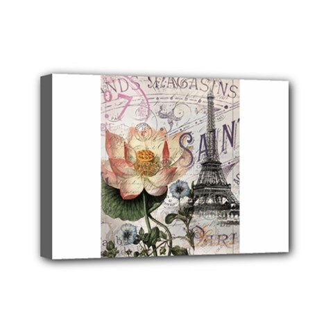 Vintage Paris Eiffel Tower Floral Mini Canvas 7  X 5  (framed) by chicelegantboutique