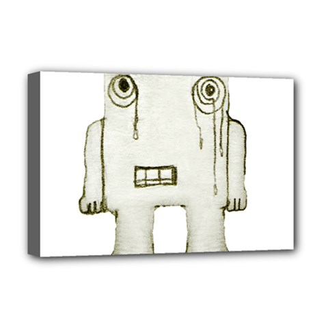 Sad Monster Baby Deluxe Canvas 18  X 12  (framed) by dflcprints