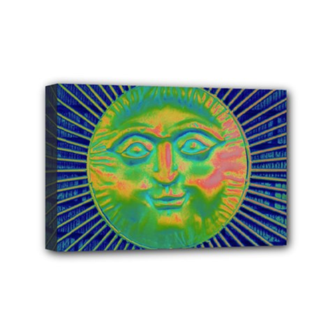 Sun Face Mini Canvas 6  X 4  (framed) by sirhowardlee