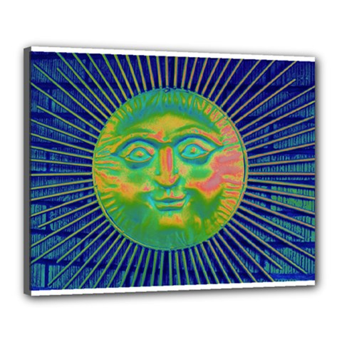 Sun Face Canvas 20  X 16  (framed) by sirhowardlee
