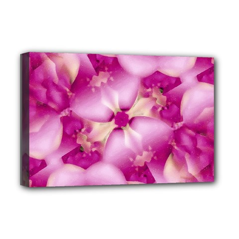 Beauty Pink Abstract Design Deluxe Canvas 18  X 12  (framed) by dflcprints