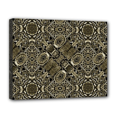 Steam Punk Pattern Print Canvas 14  X 11  (framed) by dflcprints