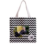 Grocery Tote Bag : Black Chevron