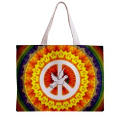 Psychedelic Peace Dove Mandala All Over Print Tiny Tote Bag
