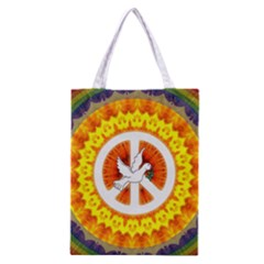 Psychedelic Peace Dove Mandala All Over Print Classic Tote Bag by StuffOrSomething
