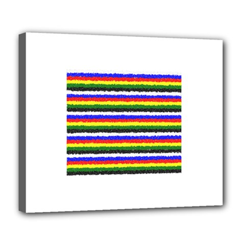 Horizontal Basic Colors Curly Stripes Deluxe Canvas 24  X 20  (framed) by BestCustomGiftsForYou