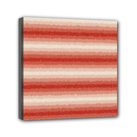 Horizontal Red Curly Stripes Mini Canvas 6  X 6  (framed) by BestCustomGiftsForYou