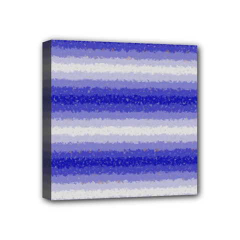 Horizontal Dark Blue Curly Stripes Mini Canvas 4  X 4  (framed) by BestCustomGiftsForYou
