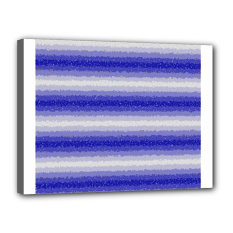 Horizontal Dark Blue Curly Stripes Canvas 16  x 12  (Framed) by BestCustomGiftsForYou