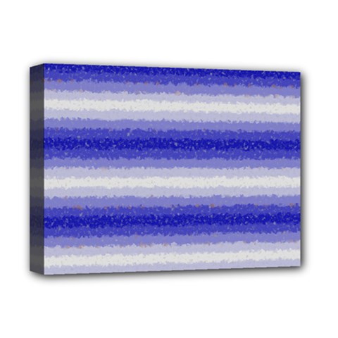 Horizontal Dark Blue Curly Stripes Deluxe Canvas 16  X 12  (framed)  by BestCustomGiftsForYou