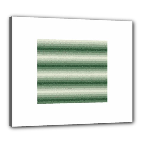 Horizontal Dark Green Curly Stripes Canvas 24  X 20  (framed) by BestCustomGiftsForYou