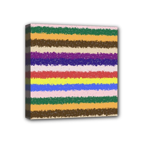 Horizontal Vivid Colors Curly Stripes   1 Mini Canvas 4  X 4  (framed) by BestCustomGiftsForYou