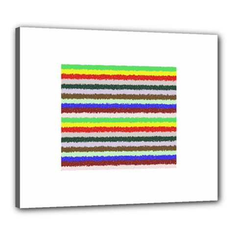 Horizontal Vivid Colors Curly Stripes   2 Canvas 24  X 20  (framed) by BestCustomGiftsForYou