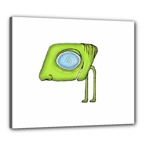 Funny Alien Monster Character Canvas 24  X 20  (framed) by dflcprints