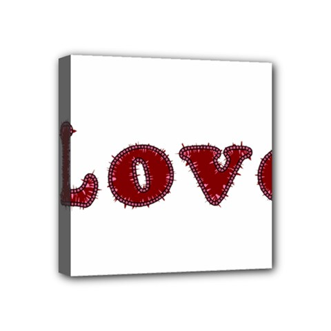 Love Typography Text Word Mini Canvas 4  X 4  (framed) by dflcprints