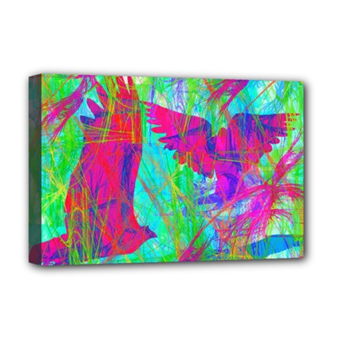 Birds In Flight Deluxe Canvas 18  X 12  (framed) by icarusismartdesigns
