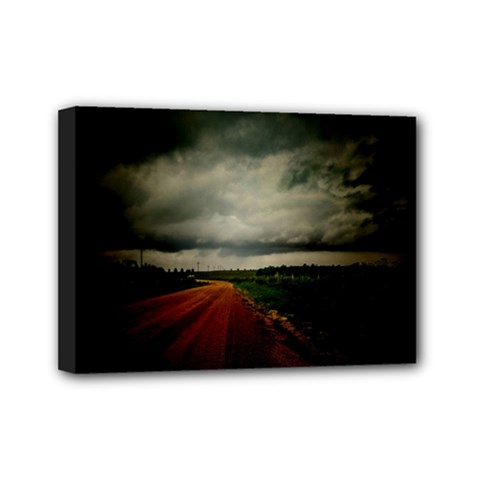 Dark Empty Road Mini Canvas 7  X 5  (framed) by dflcprints