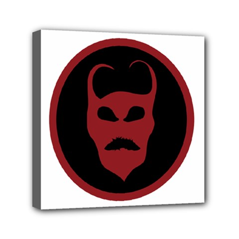 Devil Symbol Logo Mini Canvas 6  X 6  (framed) by dflcprints