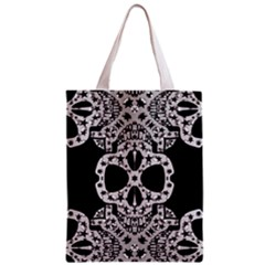 Metal Texture Silver Skulls  All Over Print Classic Tote Bag by OCDesignss