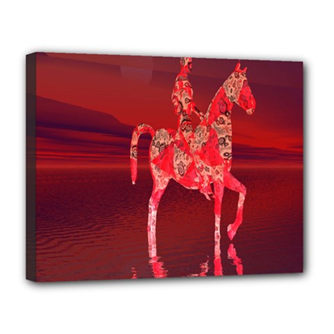 Riding At Dusk Canvas 14  X 11  (framed) by icarusismartdesigns