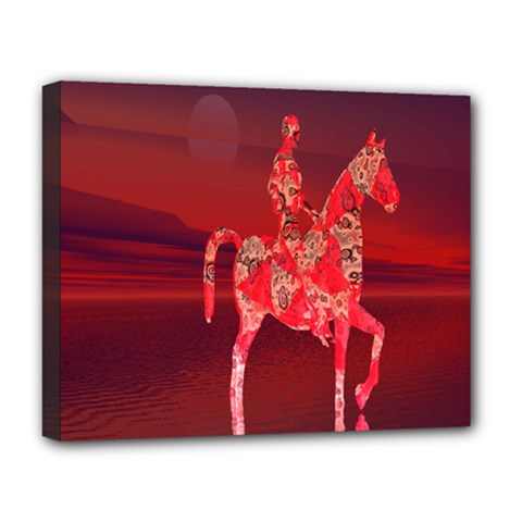 Riding At Dusk Deluxe Canvas 20  X 16  (framed) by icarusismartdesigns
