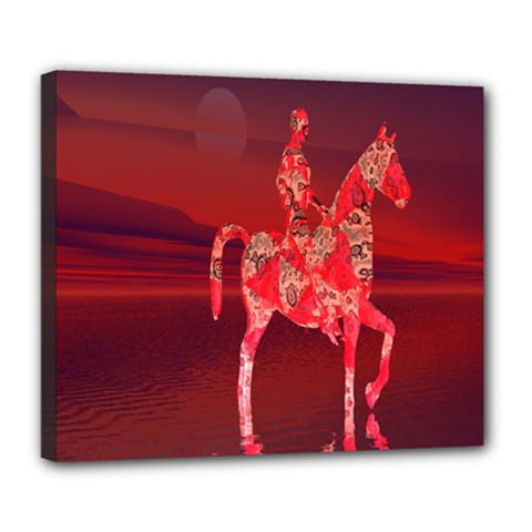 Riding At Dusk Deluxe Canvas 24  X 20  (framed) by icarusismartdesigns