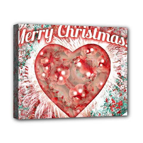 Vintage Colorful Merry Christmas Design Canvas 10  X 8  (framed) by dflcprints