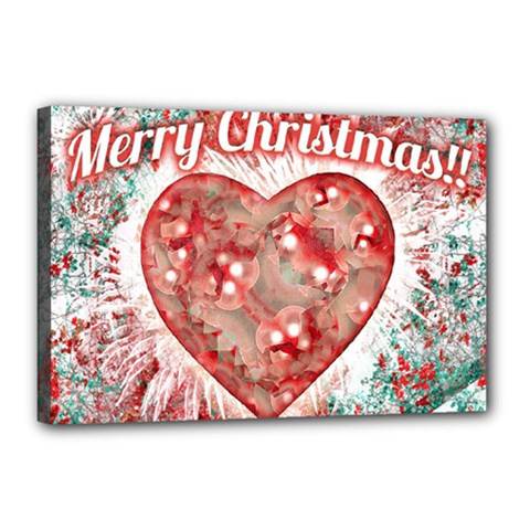Vintage Colorful Merry Christmas Design Canvas 18  X 12  (framed) by dflcprints