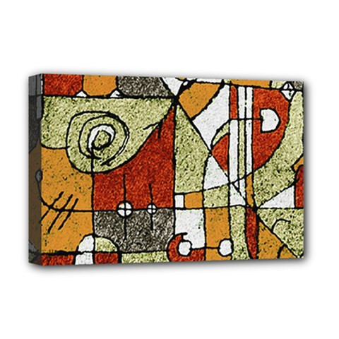Multicolored Abstract Tribal Print Deluxe Canvas 18  X 12  (framed) by dflcprints