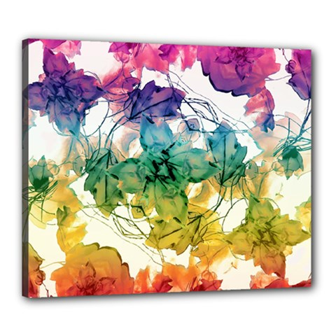 Multicolored Floral Swirls Decorative Design Canvas 24  X 20  (framed) by dflcprints