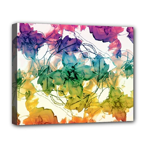 Multicolored Floral Swirls Decorative Design Deluxe Canvas 20  X 16  (framed) by dflcprints