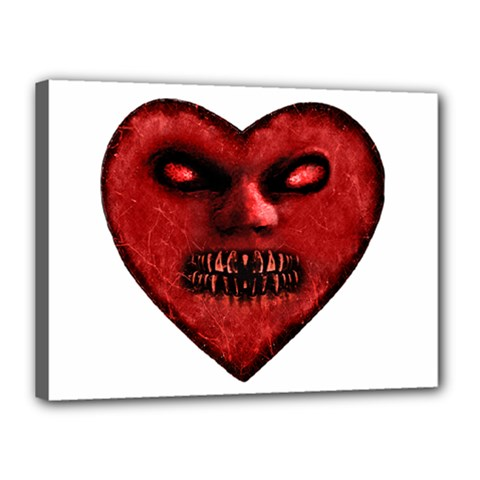 Evil Heart Shaped Dark Monster  Canvas 16  X 12  (framed) by dflcprints