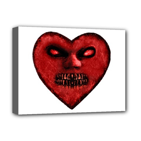 Evil Heart Shaped Dark Monster  Deluxe Canvas 16  X 12  (framed)  by dflcprints