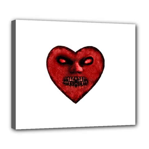 Evil Heart Shaped Dark Monster  Deluxe Canvas 24  X 20  (framed) by dflcprints