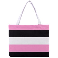 Black, Pink And White Stripes  By Celeste Khoncepts Com 20x28 All Over Print Tiny Tote Bag by Khoncepts