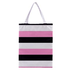 Black, Pink And White Stripes  By Celeste Khoncepts Com 20x28 All Over Print Classic Tote Bag