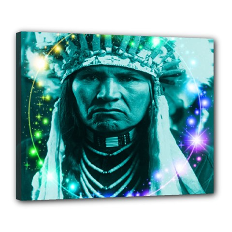 Magical Indian Chief Canvas 20  X 16  (framed) by icarusismartdesigns