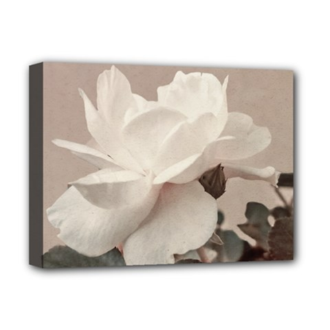 White Rose Vintage Style Photo In Ocher Colors Deluxe Canvas 16  X 12  (framed)  by dflcprints