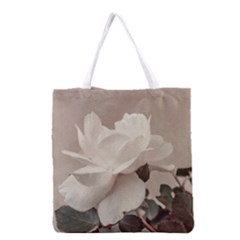 White Rose Vintage Style Photo In Ocher Colors All Over Print Grocery Tote Bag by dflcprints