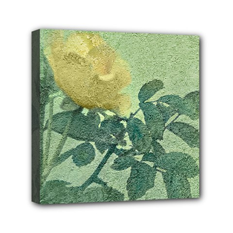 Yellow Rose Vintage Style  Mini Canvas 6  X 6  (framed) by dflcprints