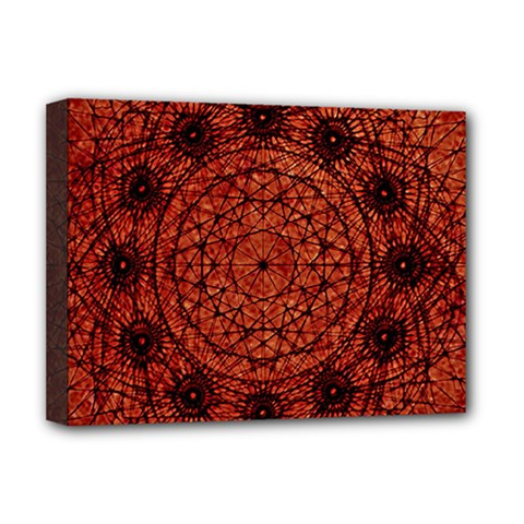 Grunge Style Geometric Mandala Deluxe Canvas 16  X 12  (framed)  by dflcprints