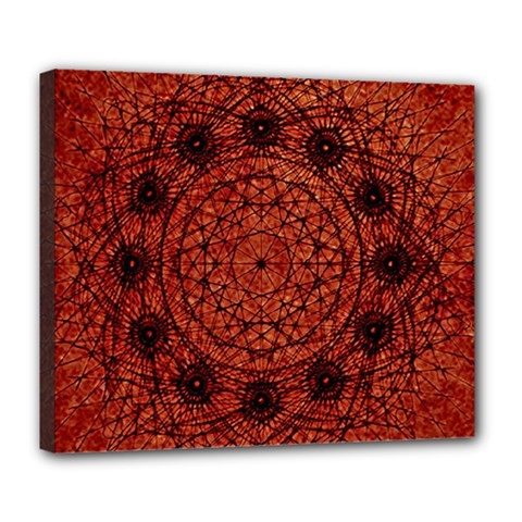 Grunge Style Geometric Mandala Deluxe Canvas 24  X 20  (framed) by dflcprints