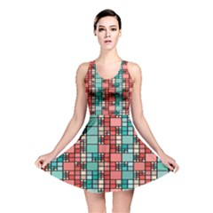 Red And Green Squares Pattern Dress All Over Print Reversible Skater Dress